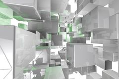 Abstract geometric cubes background  3d render Royalty Free Stock Photography