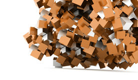 Abstract geometric cubes background rendered Stock Image