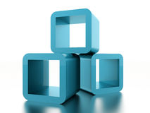 Abstract geometric cubes concept rendered. Blue abstract geometric cubes concept rendered Royalty Free Stock Photo
