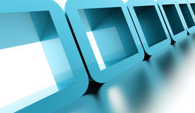 Abstract geometric cubes concept rendered. Blue abstract geometric cubes concept rendered Stock Photo