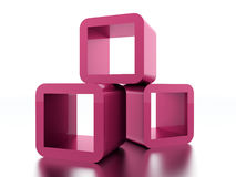 Abstract geometric cubes concept rendered. Pink abstract geometric cubes concept rendered Stock Photo