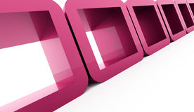 Abstract geometric cubes concept rendered. Pink abstract geometric cubes concept rendered Stock Image