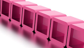 Abstract geometric cubes concept rendered. Pink abstract geometric cubes concept rendered Royalty Free Stock Image
