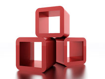 Abstract geometric cubes concept rendered. Red abstract geometric cubes concept rendered royalty free illustration