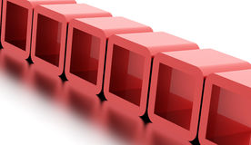 Abstract geometric cubes concept rendered. Red abstract geometric cubes concept rendered Stock Photos