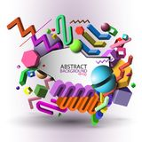 Abstract geometric 3d background - colorful vector eps10.  Royalty Free Stock Photography