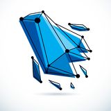 Abstract geometric 3D wireframe object, corporate technology vec. Tor illustration royalty free illustration