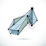Abstract geometric 3D wireframe object, corporate technology vec. Tor illustration stock illustration