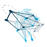 Abstract geometric 3D wireframe object, digital technology vecto. R illustration stock illustration