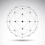 Abstract geometric 3D wireframe object, modern digital technolog Royalty Free Stock Photography