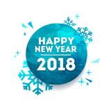 Abstract geometric design for the happy new year 2018. Holiday circle banner with vector geometric figure with the decor. Of snowflakes, stars and sparkles Stock Photo
