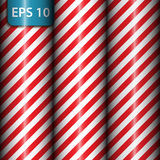 Abstract geometric diagonal striped pattern with red and white stripes. Vector illustration Royalty Free Stock Images