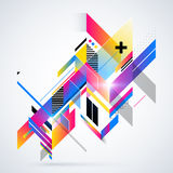 Abstract geometric element with colorful gradients and glowing lights. Royalty Free Stock Photography