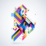 Abstract geometric element with colorful gradients and glowing lights. Stock Photography