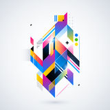 Abstract geometric element with colorful gradients and glowing lights. Corporate futuristic design, useful for presentations, adve. Rtising and web layouts Stock Images
