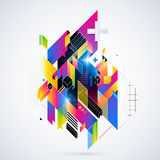 Abstract geometric element with colorful gradients and glowing lights. Corporate futuristic design, useful for presentations, adve Royalty Free Stock Photography