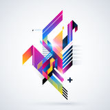 Abstract geometric element with colorful gradients and glowing lights. Corporate futuristic design, useful for presentations, adve. Rtising and web layouts Stock Photography