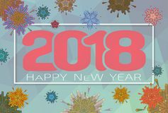 Vector 2018 happy new year celebration BG. Abstract geometric firework vector illustration for happy new year celebration 2018 on silver gray background Royalty Free Stock Images