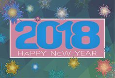 Vector 2018 happy new year celebration BG. Abstract geometric firework vector illustration for happy new year celebration 2018 on silver gray background Royalty Free Stock Image