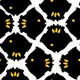 Abstract Geometric Fish Grid Yellow and Black. Abstract Geometric Fish Grid, Vector Pattern Seamless Background, Bold Hand Drawn Graphic Illustration for Trendy royalty free illustration