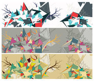 Abstract geometric; floral background. Geometric figure intertwined with tree; nature. Art graphic background Vector Illustration