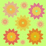 Scattered blossoms yellow orange pink violet green Royalty Free Stock Image