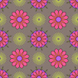 Abstract geometric flowers mosaic background. Geometric seamless spirograph  pattern. Stock Image