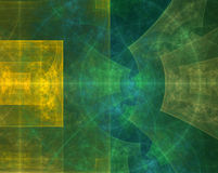 Abstract geometric fractal background in green and yellow colors. With various squares, arches and other geometric shapes stock illustration