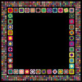 Abstract geometric frame. On black background made of various size and color squares with rounded corners royalty free illustration