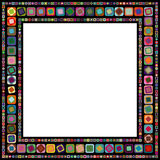 Abstract geometric frame. Made from various size and color squares with rounded corners, on black background vector illustration