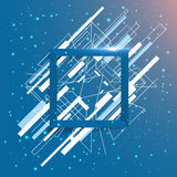 Abstract geometric frame square. With line isolated on blue background Royalty Free Stock Images