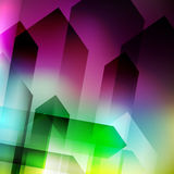 Abstract geometric gems and crystals glowing background with sparks and shining lines. Vector eps 10. Stock Photos