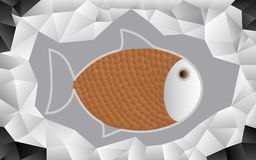Fish on foil. Abstract geometric gray silver and black triangles pattern background and fish beige scales and gray outline Royalty Free Stock Image