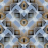 Abstract geometric greek key seamless pattern. Vector 3d modern. Background with geometric shapes, spiral figures, stripes, squares, rhombus, meander ornaments Royalty Free Stock Photo