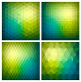 Abstract  geometric green background set Stock Images