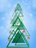 Abstract geometric green Christmas tree. Triangle design pattern Christmas tree on blue background with snowflakes. Vector illustration Eps 10 Royalty Free Stock Photography
