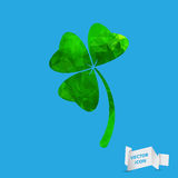 Abstract geometric green Clover with three leaves sign icon.  Royalty Free Stock Photos