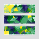 Abstract geometric headers collection with triangular polygons Royalty Free Stock Images