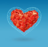 Abstract geometric heart symbol with low poly wireframe cage. Abstract red geometric shapes combine to heart symbol in polygonal wireframe cage on blue vector illustration