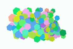 Abstract geometric hexagon pattern, colorful & artistic for graphic design, catalog, textile or texture printing & background. Vector illustration graphic Royalty Free Stock Images