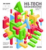 Abstract Geometric Hi-Tech Background with Colorful 3D Objects Stock Photos