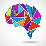 Abstract geometric human brain. From colorful triangles. Vector illustration. Eps 10 royalty free illustration