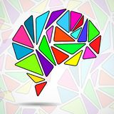 Abstract geometric human brain. From colorful triangles. Vector illustration. Eps 10 Stock Photo