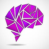 Abstract geometric human brain. From colorful triangles Royalty Free Stock Photography