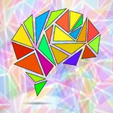 Abstract geometric human brain. From colorful triangles royalty free illustration