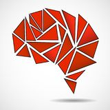 Abstract geometric human brain. From colorful triangles stock illustration