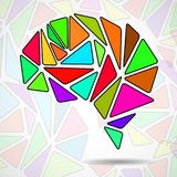 Abstract geometric human brain. From colorful triangles vector illustration