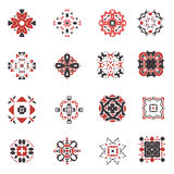 Abstract geometric icon set. Vector ornamental arabic style symbols. Design square collection Royalty Free Stock Photos