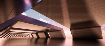 Abstract geometric interior metal tunnel background royalty free stock image