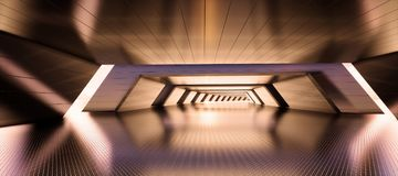 Abstract geometric interior metal tunnel background royalty free stock photography